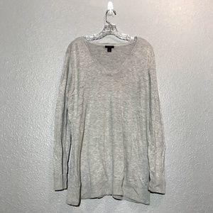 Halogen Relaxed V Neck Gray Sweater